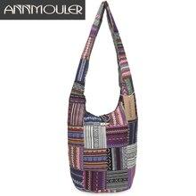 Annmouler Women Large Shoulder Bag Cotton Messenger Bag Vintage Patchwork Crossbody Bag for Ladies Zipper Hobo Bag with Buckle недорго, оригинальная цена