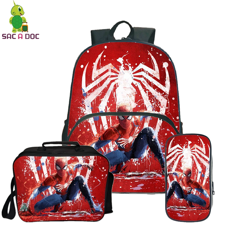 The Avengers  3Pcs/Sets  Backpack School Bagpack for Teenage Purse Backpack Girls Boys Travel Backpack with Cooler BagThe Avengers  3Pcs/Sets  Backpack School Bagpack for Teenage Purse Backpack Girls Boys Travel Backpack with Cooler Bag