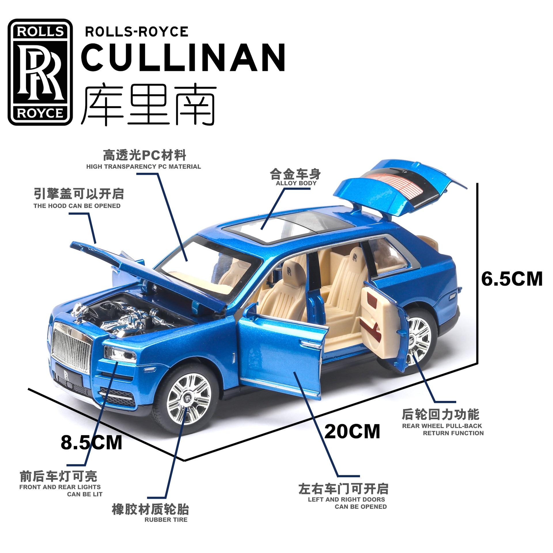 1 24 Diecast Car Model Toy Vehicle Rolls Royces Cullinan SUV Metal Wheels Sound Light Pull