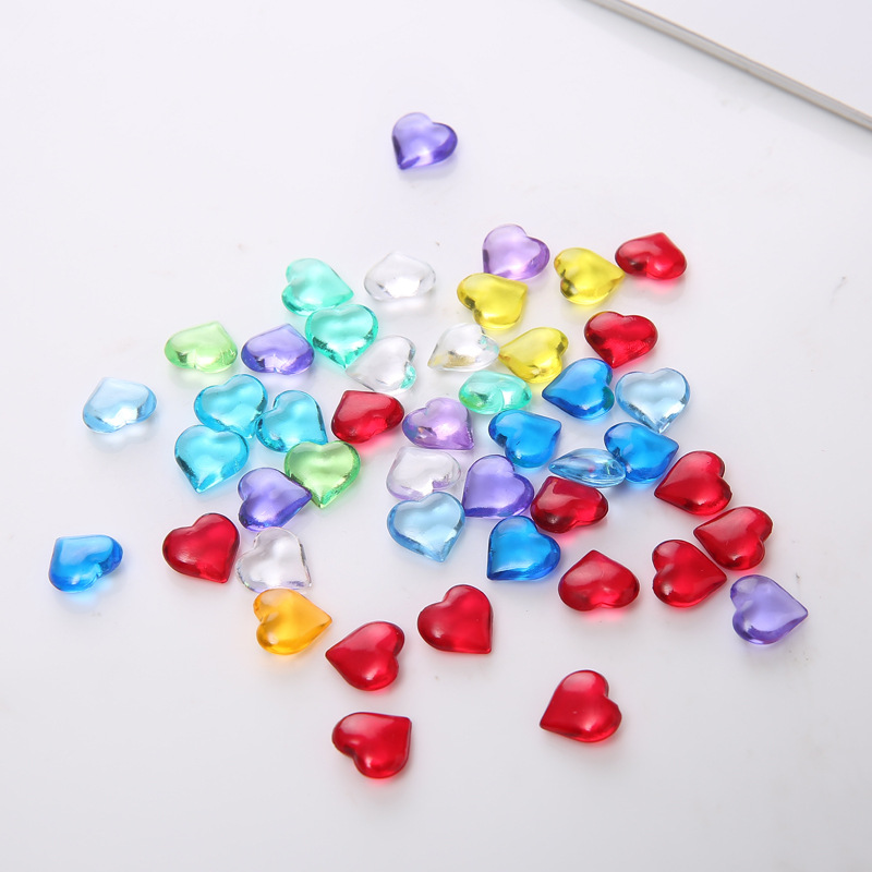 100PCS 10*4mm 17 Colors Heart Shape Acrylic Crystal Pawn Stone Chessman Game Pieces For Token Board Games Accessories