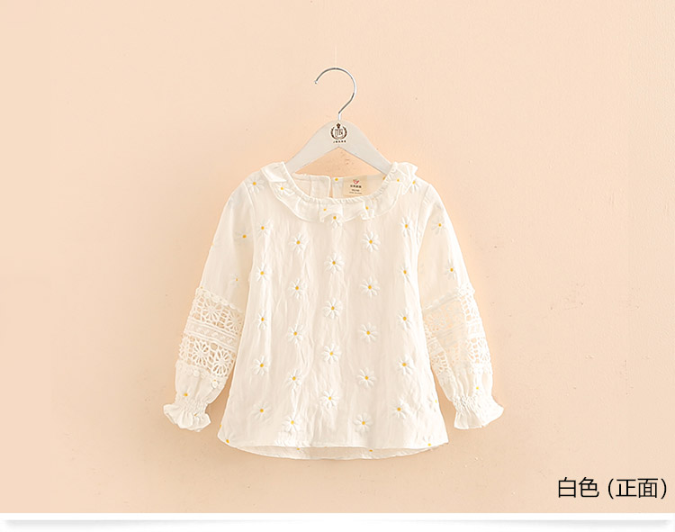 2018 Spring Fashion Female Child Children'S Clothing Baby Girl Mandarin Collar Long-Sleeve Cutout Flower Shirt (6)