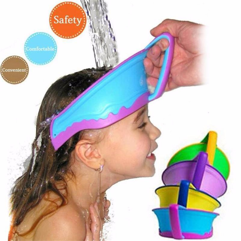 New Silicone Kids Bath Visor Hat Adjustable Baby Shower Cap Protect Shampoo Hair Wash Shield for Children Infant Waterproof Cap
