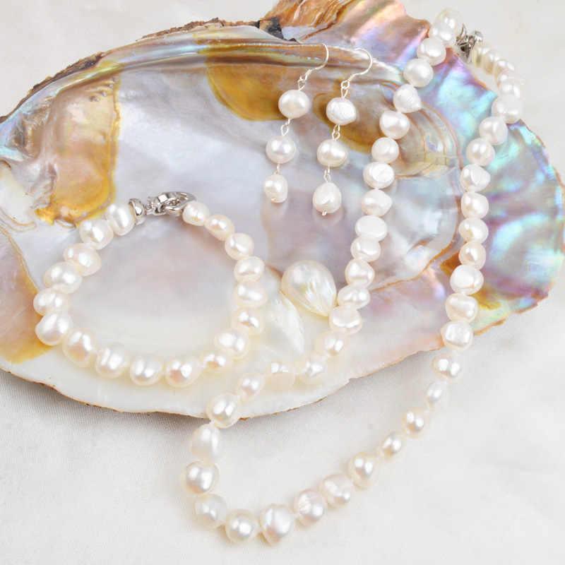 ASHIQI Nước Ngọt Tự Nhiên Bộ Trang Sức Ngọc Trai Nữ 9-10mm Baroque Ngọc Trai NÉ + BR + Tặng EA