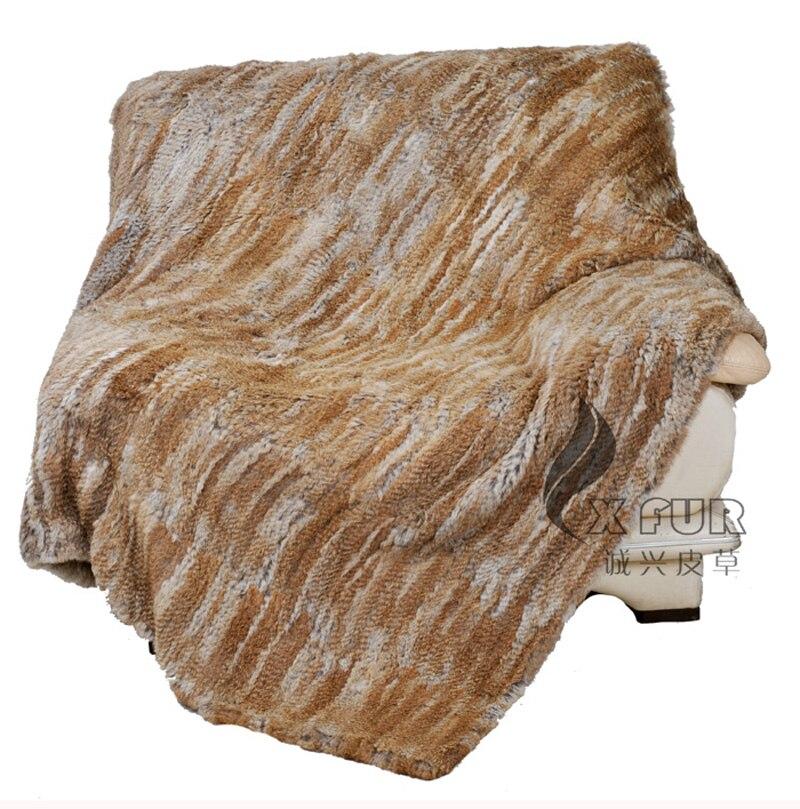 CX D 15A China Handmade Custom Made Malha Genuine Rabbit Fur Throw Cobertores de Cama Sofá Lance - 3