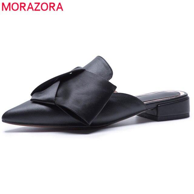 75962916 € 38.71 48% de DESCUENTO|MORAZORA 2018 más tamaño 34 43 nuevo estilo moda  mules zapatos de mujer de cuero genuino mujeres fuera verano punta ...