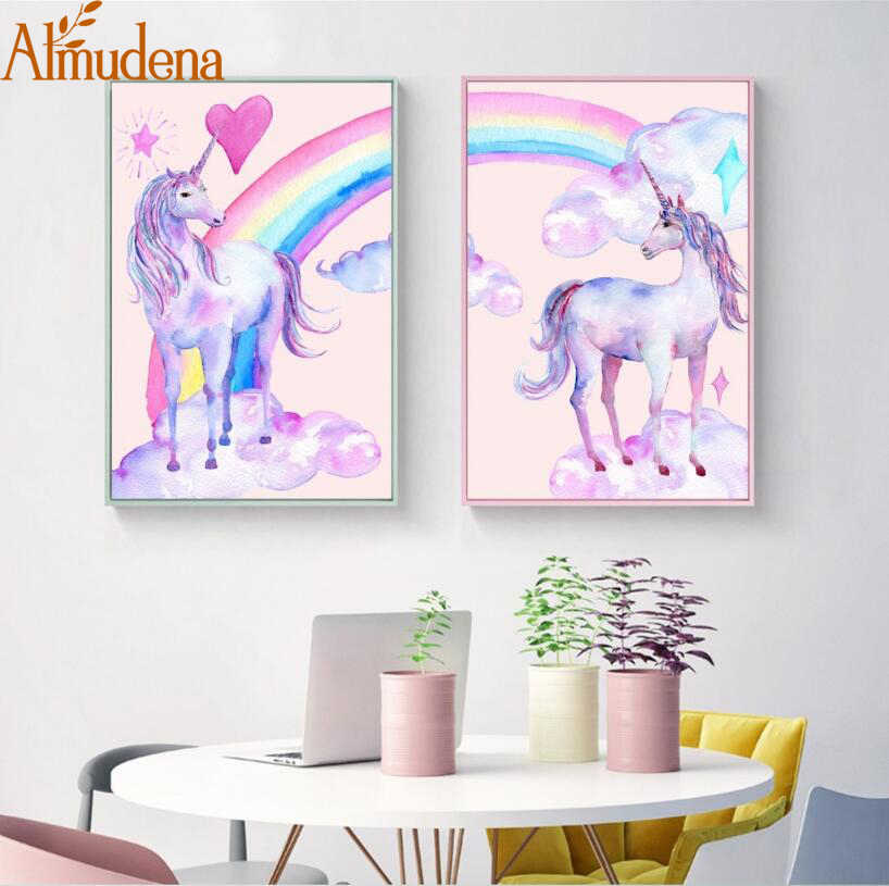Nordic Posters and Prints Cartoon Rainbow and Horse Wall Art Pictures Watercolor Unicorn Canvas Painting Kids Room Decoration