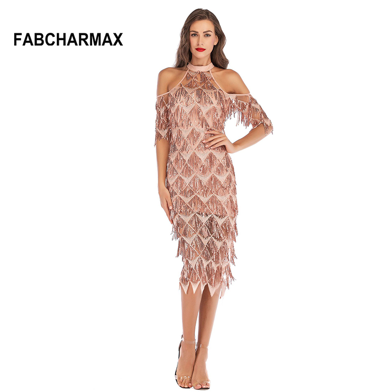 New trend tassels sequin dresses women chic elegant sexy evening party midi  dress off shoulder ladies fringe sequins mesh dress 9ebba623e33c