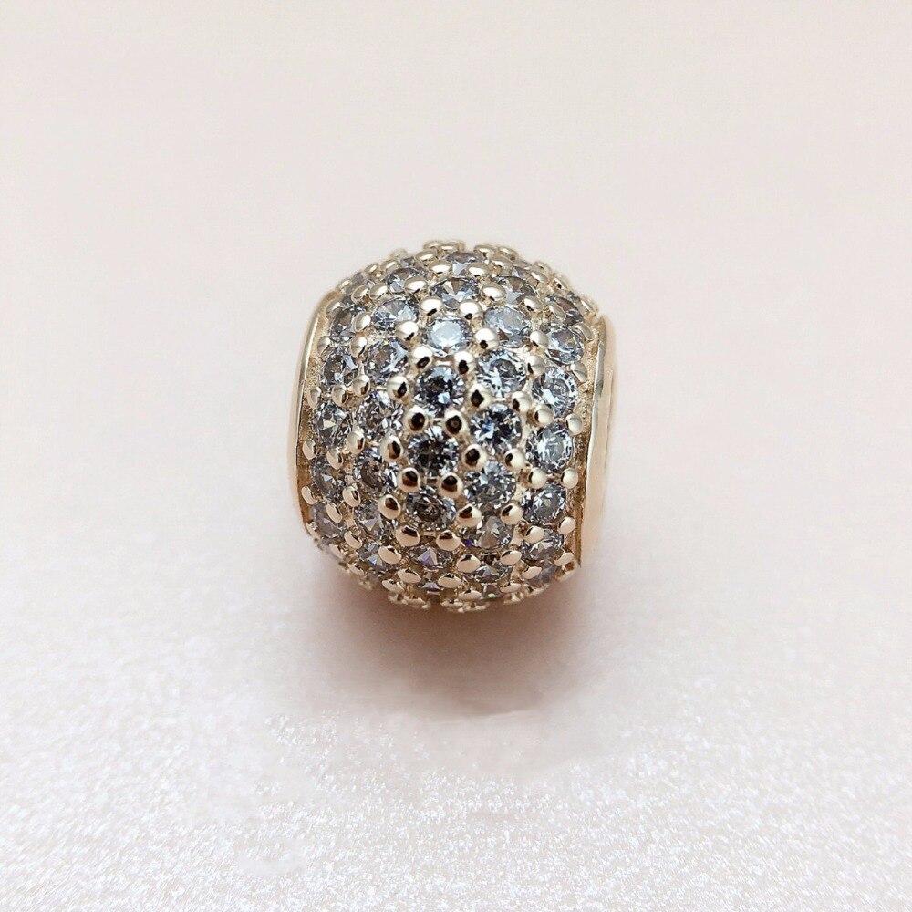 Adapte Pandora bracelets D'origine Pavent la Boule Dans mon coeur charme avec Cz amour Perles BRICOLAGE bijoux charme livraison gratuite réel k3266