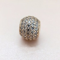 Fits Pandora bracelets Original Pave Ball In my heart charm with Cz love Beads DIY jewelry charm free shipping real K3266