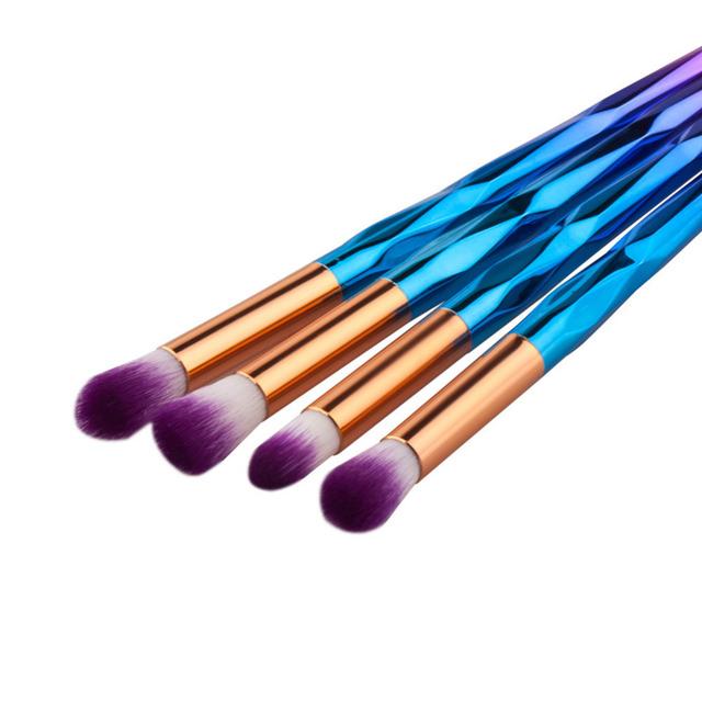 Free ship 4pcs different size Nylon Diamond rainbow Makeup Brushes Set for Foundation Powder Eyeshadow Eyeliner Lip Brush Tools