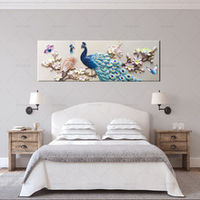Canvas Painting Living Room Decor 1 Pieces Blue Peacock Pictures HD Prints Orchid Flower Butterflies Poster Wall Art No Frame(China)