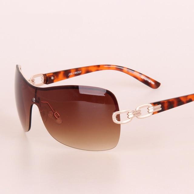 Vintage Sans Monture Lunettes lunettes de Soleil Femmes Marque Design Avec  Logo Alliage Chaîne Or Cadre a93ba999f783