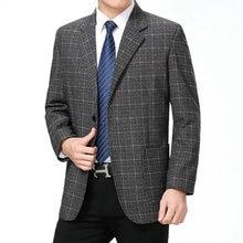 WAEOLSA Spring Autumn Men Plaid Blazers Blue Gray Suit Jackets Mans Elegance Blazer Hombre Check Texture Tailored Male