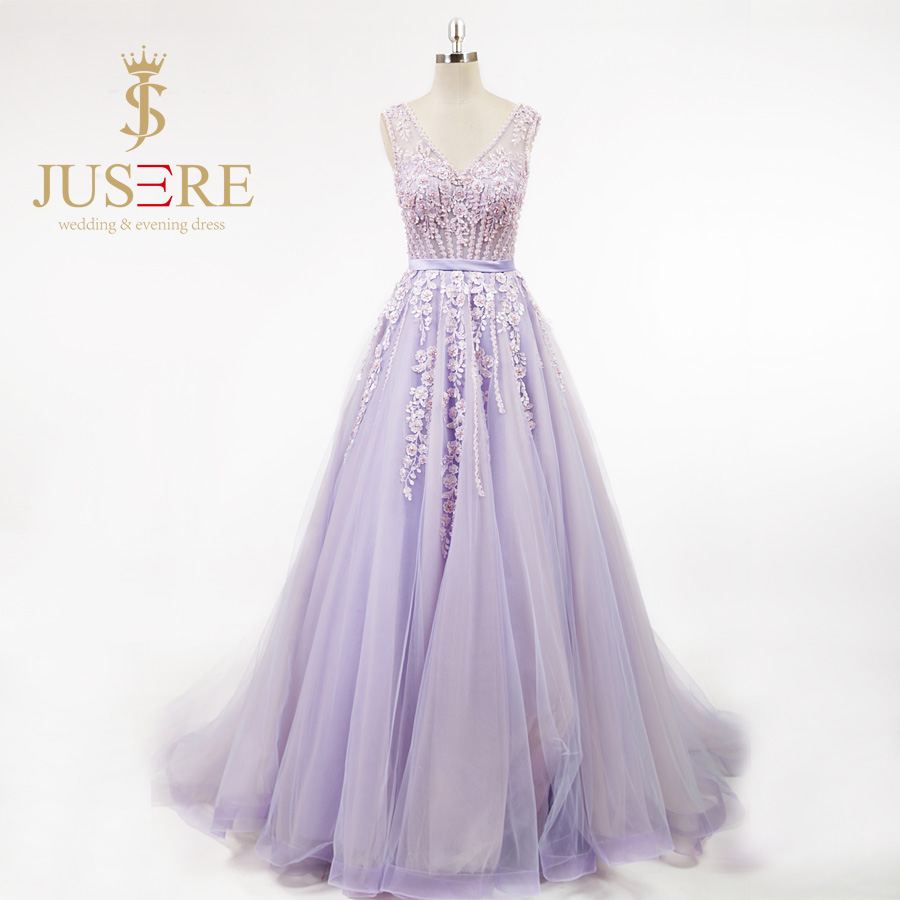 Light Purple Floral Prom Dresses
