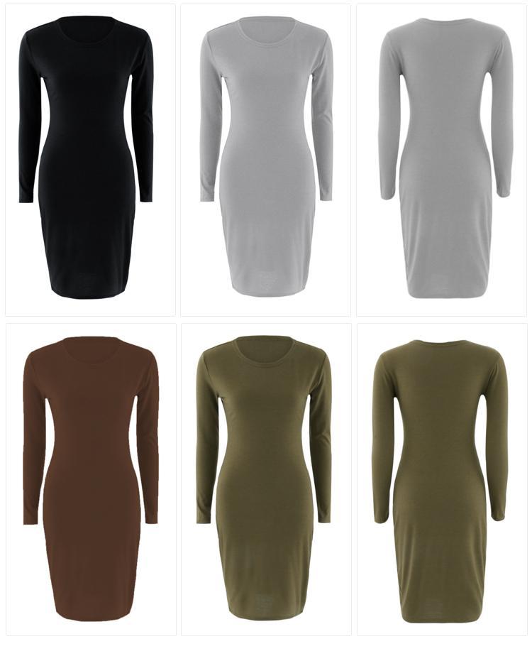 HTB1bXtuaET1gK0jSZFrq6ANCXXau 2019 Autumn Hot Slim Bodycon Dress Women Solid Color Chic Party Dresses Casual Sleep Wear Inside Wear Vestidos Pencil Dress