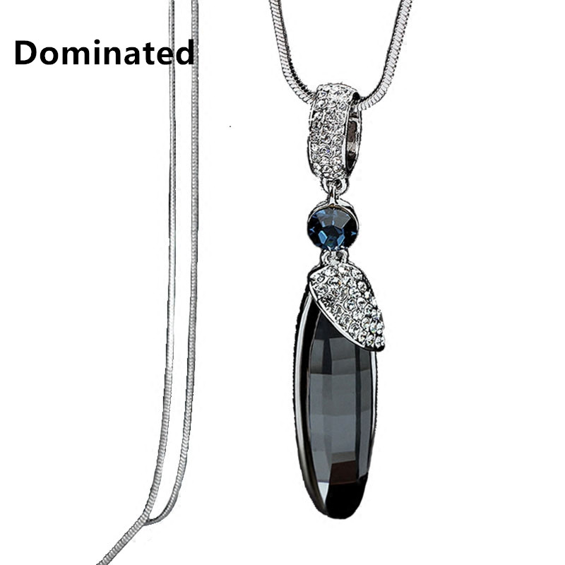 Dominated Women Crystal Necklace font b Long b font Personality Pendant font b Dress b font