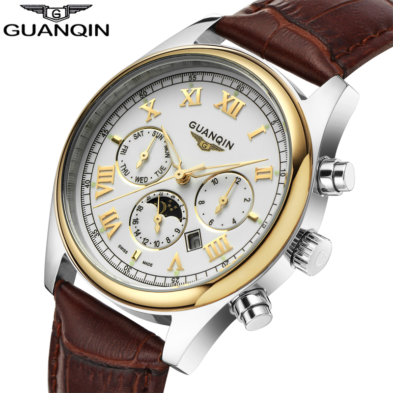 Watches Men GUANQIN 2017 Automatic Luxury Brand Date Luminous Genuine font b Leather b font Mens
