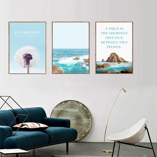 New sea spray landscape nordic canvas painting wall art posters prints pictures for kids children living