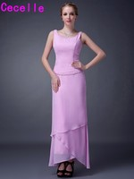 2017 New Real Pink High Low Tiered Chiffon Dresses For Mother of the Bride With Jackets Beaded Mother's Formal Dresses Custom