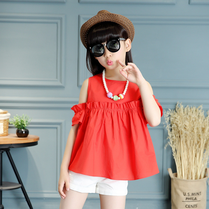 Suit Summer Girl Korean Strapless Solid Color Two Pieces Child Short Sleeve T-shirts Suit Kids Clothing Sets