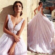 Romantische Tulle V hals Hals A lijn Trouwjurk Met Kant Applicaties Roze Lange Bruidsjurk Vestido Madrinha