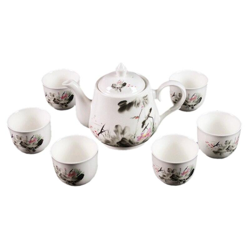 Jingdezhen new ceramic teapot Teapot Set large bone china cups gift box supply jingdezhen hand painted red lotus kung fu tea set bone china cup eggshell fair cup 4299