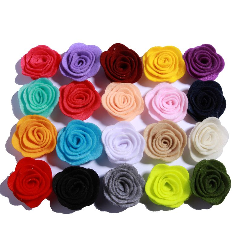 120PCS 4CM Newborn Decorative Nonwovens Felt Rose Flowers for Wedding Embellishment Artificial Flower for Home Garden