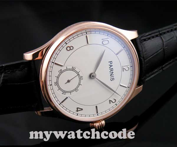 44mm parnis white dial rose golden plated case 6498 hand winding mens watch P237 corgeut 44mm white dial rose golden case hand winding 6498 mens watch