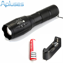 E17 Touch Cree XM-L T6 3800 Lumen XML LED Light Zoomable led Torch + 18650 4200mah battery + battery holder + charger(EU/US)