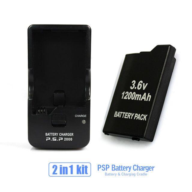Accesorios de juego para una batería PSP + una base de carga de batería PSP para todos los SONY PSP-2000, 3000