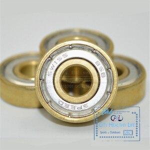 Image 3 - 16 יח\חבילה שוויצרית BSB זהב 7 חרוזים ILQ 11 Bearing עבור Inline מהירות גלגיליות עבור סבע HV WFSC KSJ Powerslide 608 עם ברזל תיבה