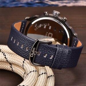 Image 4 - OULM relojes de cuarzo con pantalla dos zonas horarias para hombre, reloj de pulsera militar de cuero PU