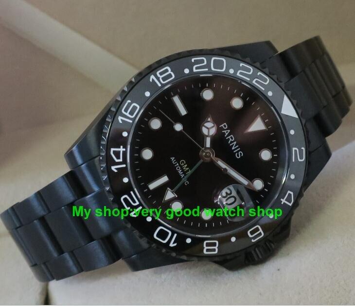 40 мм Parnis GMT японский Самовзводные движения механические часы мужские часы PVD Черный сапфировое стекло 377a