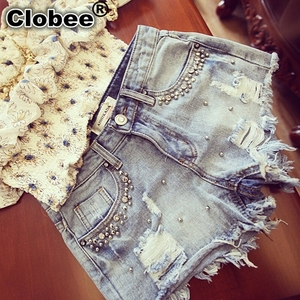 Summer Beaded Denim Shorts Female Plus Size S~2XL Vintage Women Jeans Shorts Tassel Denim Shorts High Quality Wash Jeans(China)