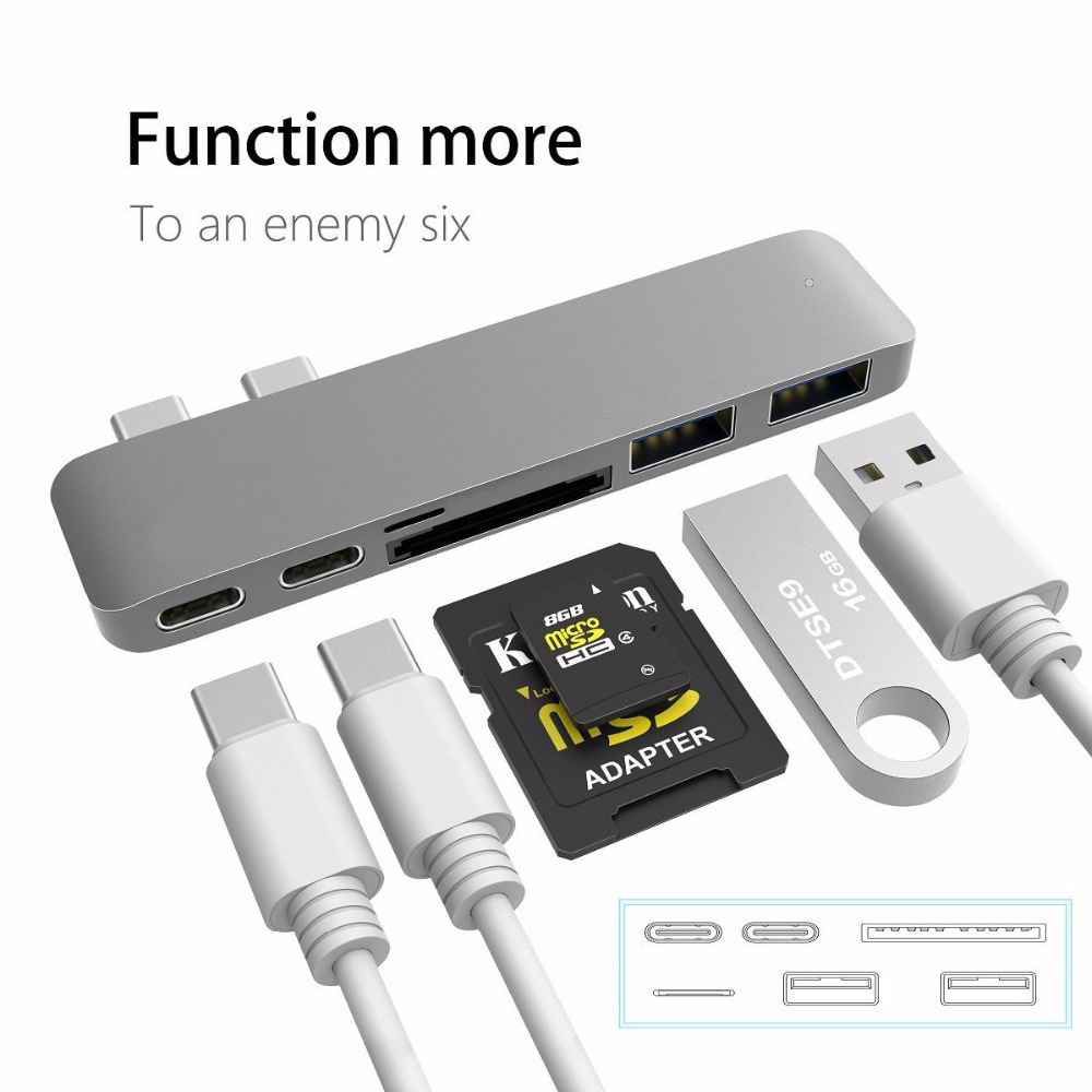 Navpeak Dual USB hub To 4K HDMI Hub+Micro SD/Micro SD Card Reader+USB 3.0 ports Power Por+PD charging 4K HD macbook converter