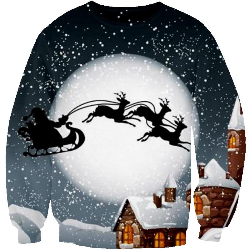 2018 New Christmas Santa Deer Gift 3D Printed Sweatshirts Hip Hop Pullovers Cool Long Sleeve CrewNeck Casual Sweatshirt S-5XL