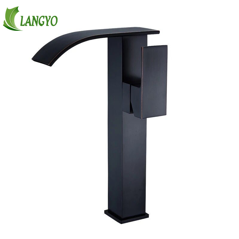 free shipping black antique brass waterfall basin faucet deck mounted hot and cold water bathroom faucet LT-513free shipping black antique brass waterfall basin faucet deck mounted hot and cold water bathroom faucet LT-513