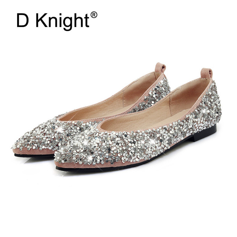 Bling Ballet Flats Shallow Wedding Shoes Flat Heel Casual Shoes Pointed Toe Slip On Women Wedding Princess Flats Plus Size 30-44 2018 new arrival women flats shoes shallow flat heel hollow out flower shape nude shoes pointed toe shoes zapatos mujer