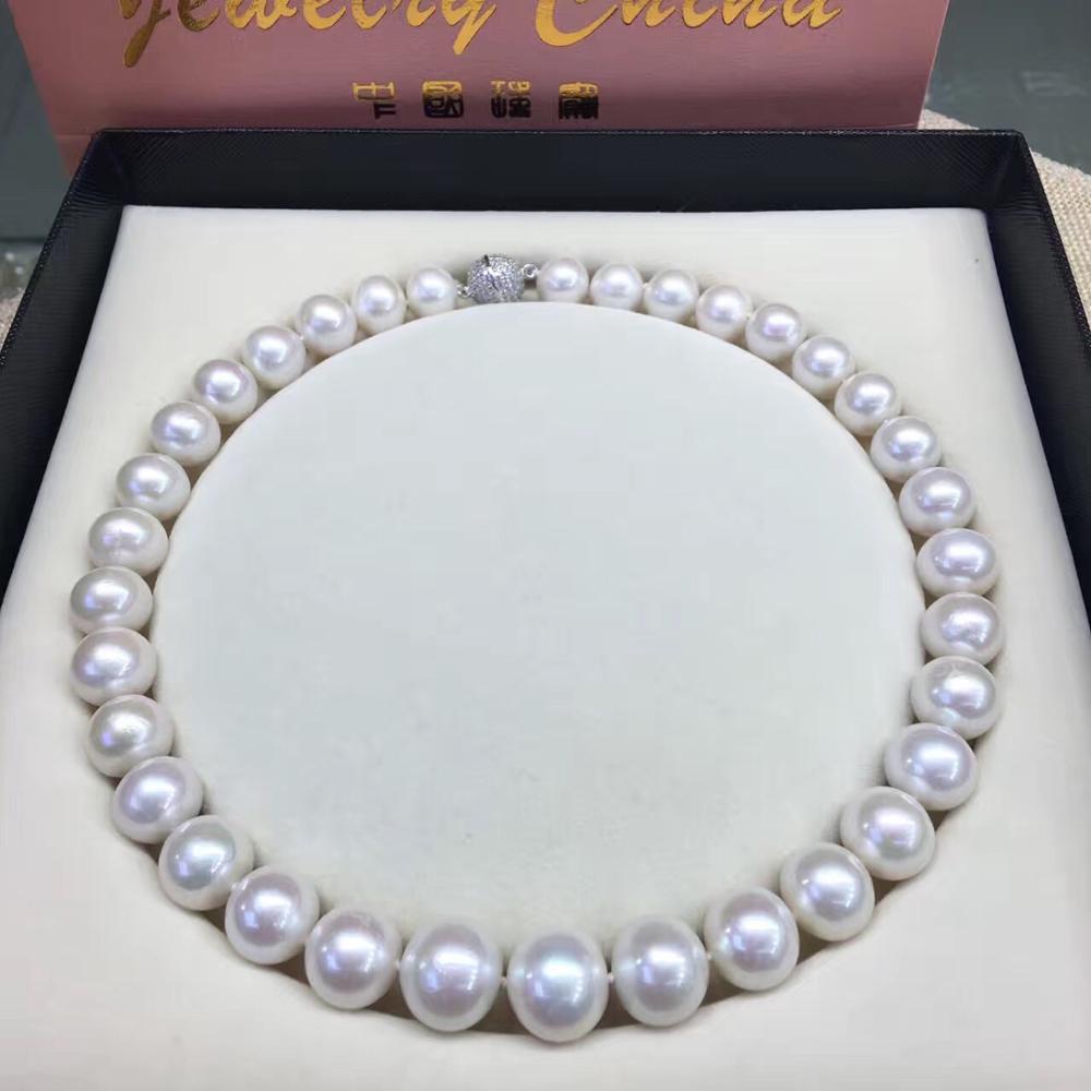 Femmes cadeau mot 925 en argent Sterling véritable véritable 12-13mm naturel collier de perles d'eau douce chaîne clavicule envoyer maman 925 argent cl