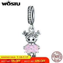 WOSTU Hot Sale 925 Sterling Silver Lovely Girl Boy Pendant Charm fit Beads Bracelet Necklace DIY Jewelry Daughter Gift CQC543(China)