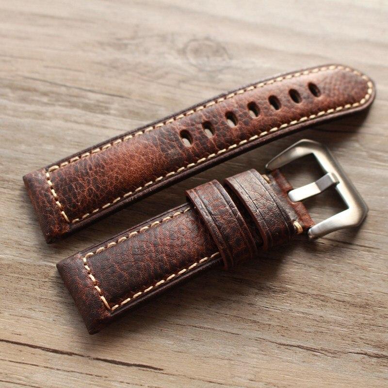 2020 novo design retro couro pulseiras versão clássico relógio masculino banda 20 22 24 26mm para panerai pulseira de alta qualidade