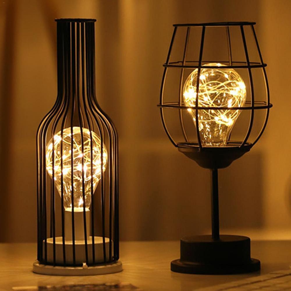 LED Retro Bulb Iron Table Winebottle Copper Wire Night Light Creative Hotel Home Decoration Desk Lamp