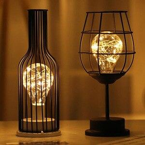 Image 1 - LED Retro Lamp Ijzeren Tafel Winebottle Koperdraad Nachtlampje Creatieve Hotel Home Decoratie Bureaulamp Night Lamp Batterij Aangedreven