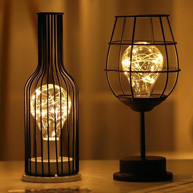 LED Retro Lamp Ijzeren Tafel Winebottle Koperdraad Nachtlampje Creatieve Hotel Home Decoratie Bureaulamp Night Lamp Batterij Aangedreven