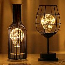 LED rétro ampoule fer Table bouteille de vin fil de cuivre veilleuse créative hôtel décoration de la maison lampe de bureau lampe de nuit alimenté par batterie