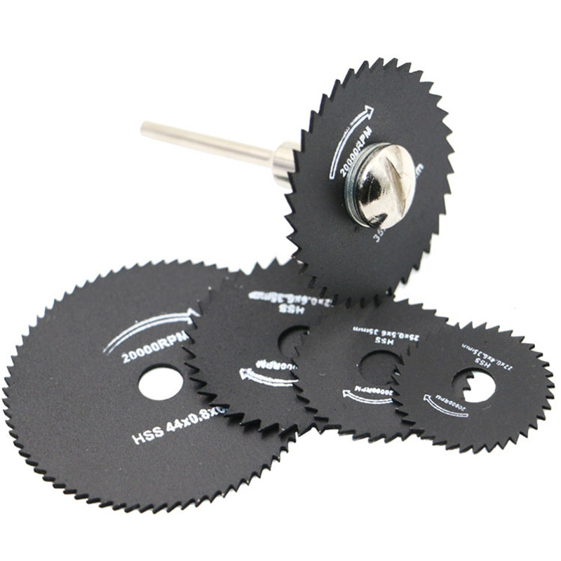 6Pcs HSS Rotary Tools Circular Saw Blades Cutting Discs Mandrel Cut off Cutter jigsaw blade dremel hand tools Accessories 5pc high quality emery diamond coated double side cutting discs cut off blade grinding disc for dremel rotary tools 1 mandrel