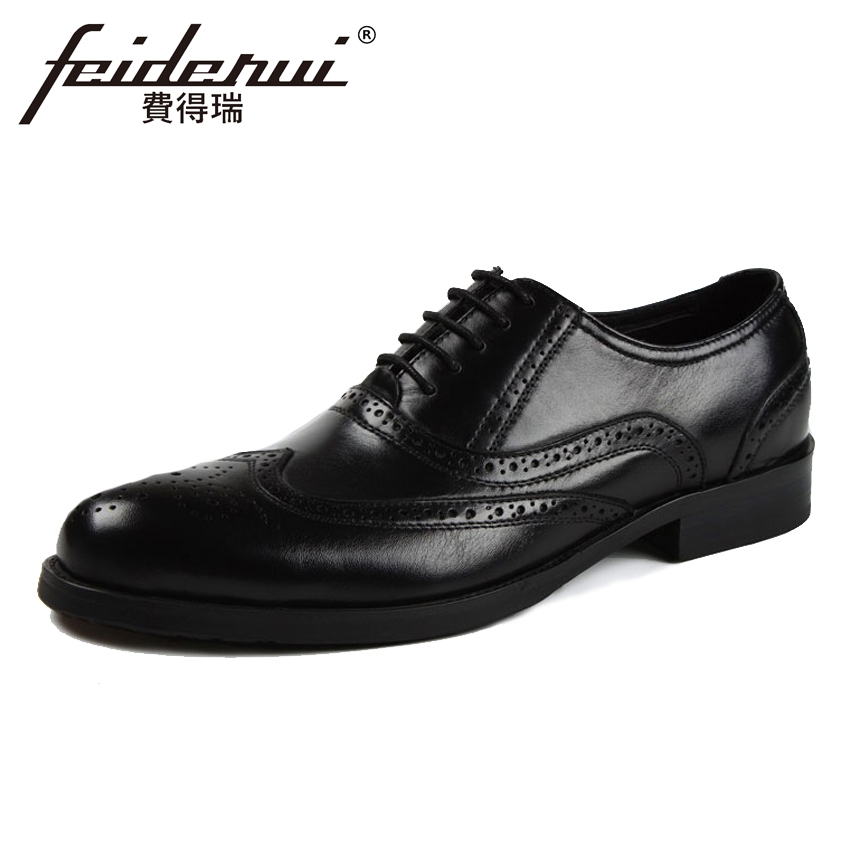 2018 Vintage Genuine Leather Mens Handmade Carved Oxfords Round Toe Man Formal Dress Wedding Wingtip Brogue Shoes YMX359