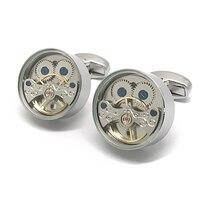 Beour İzle Steampunk Kol Düğmeleri Gümüş Klasik Bakır Yüksek Kaliteli Gömlek Kol Düğmesi Düğün Hediye (Cam kapak)