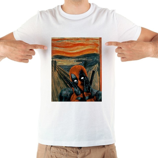 Edvard Munch Skrik The Scream deadpool funny T shirt MEN 2018 summer new white casual homme tops tshirt