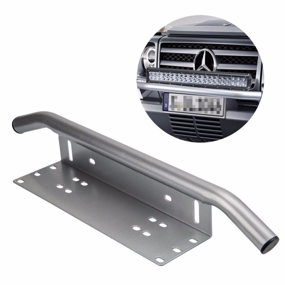 Chrome License Plate Holder Light Bar Mount Front Bumper